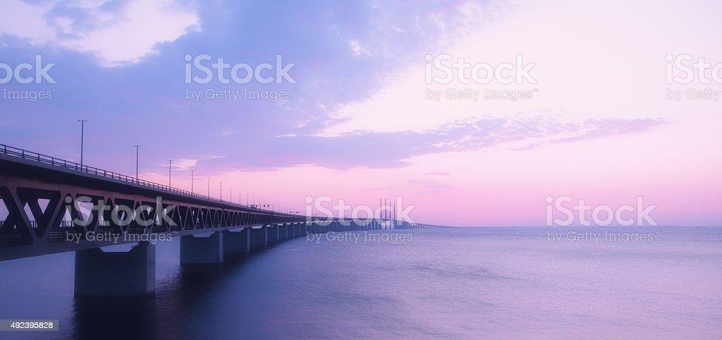 Oresundsbron bridge at dusk stock photo