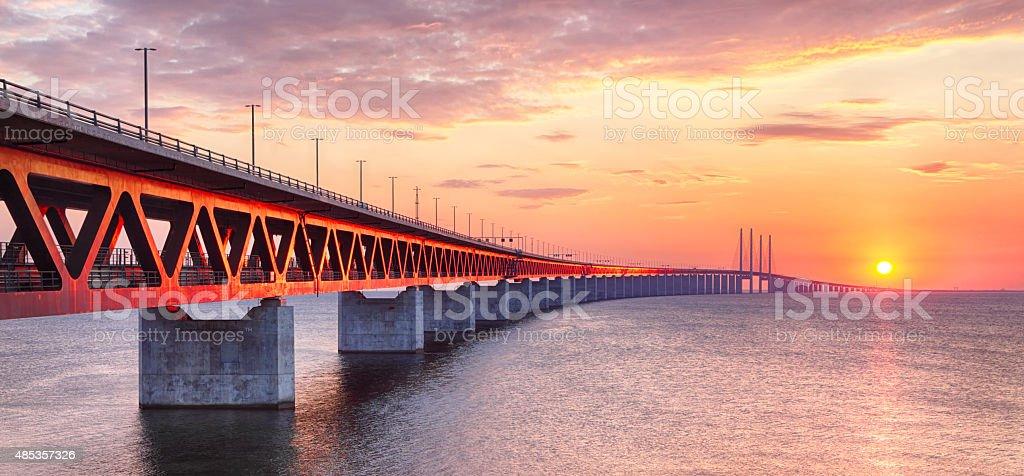 Oresundsbron bridge at sunset stock photo