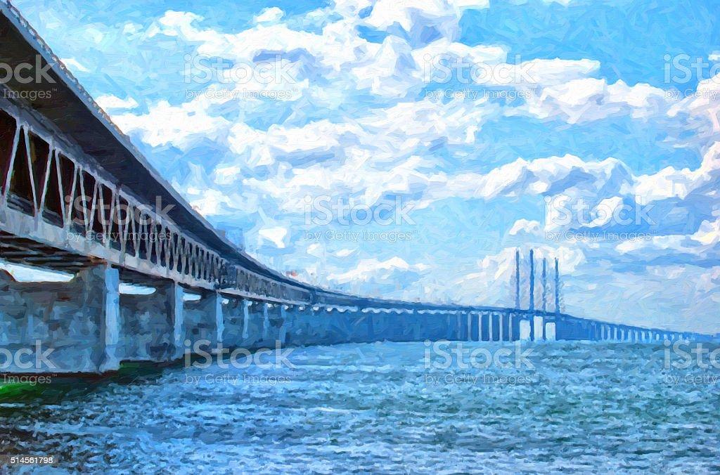 Oresundsbron Digital Painting stock photo