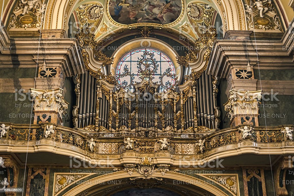 Organ and choir loft above the entrance of the Cathedral. stock photo