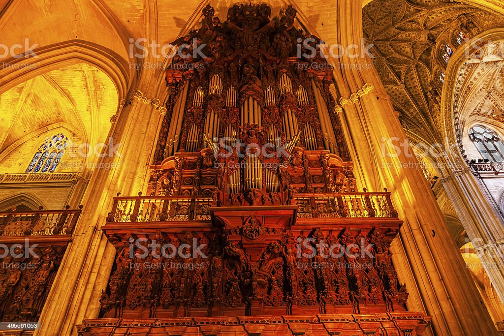 Organ Arches Stained Glass Statues Seville Cathedral Spain royalty-free stock photo