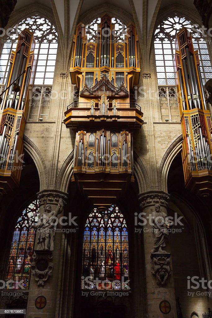 Organ in the Cathedral of St Michael and St Gudula stock photo