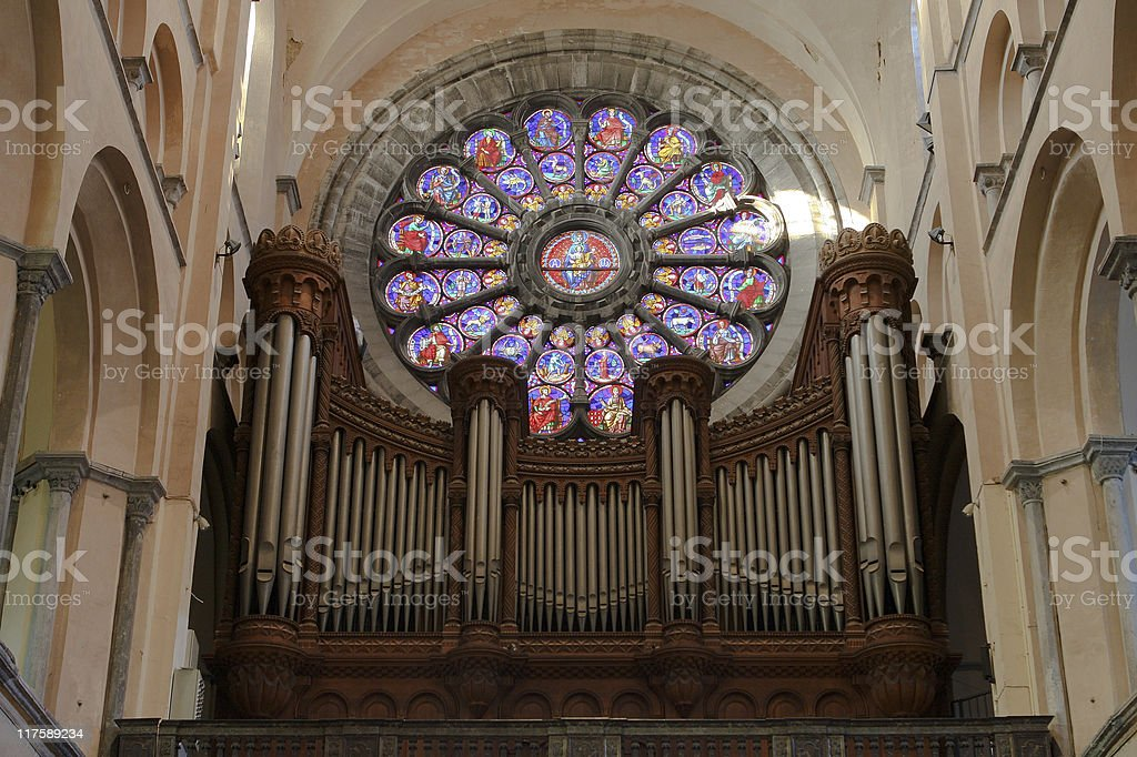 Organ in Tournai, Belgium stock photo