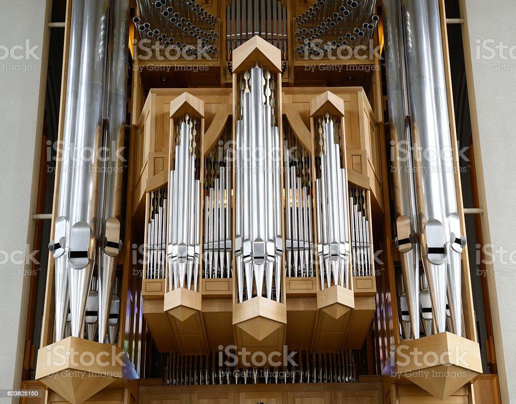 Organ inside Hallgrimskirkja Church stock photo