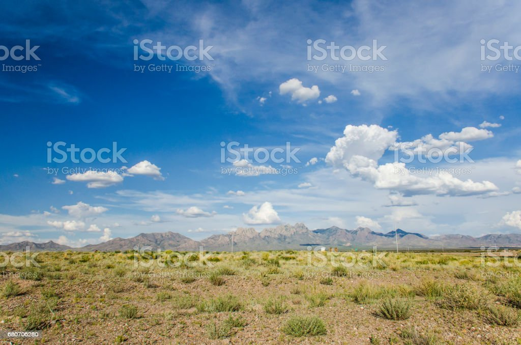 Organ Mountains in Las Cruces, New Mexico with sky stock photo