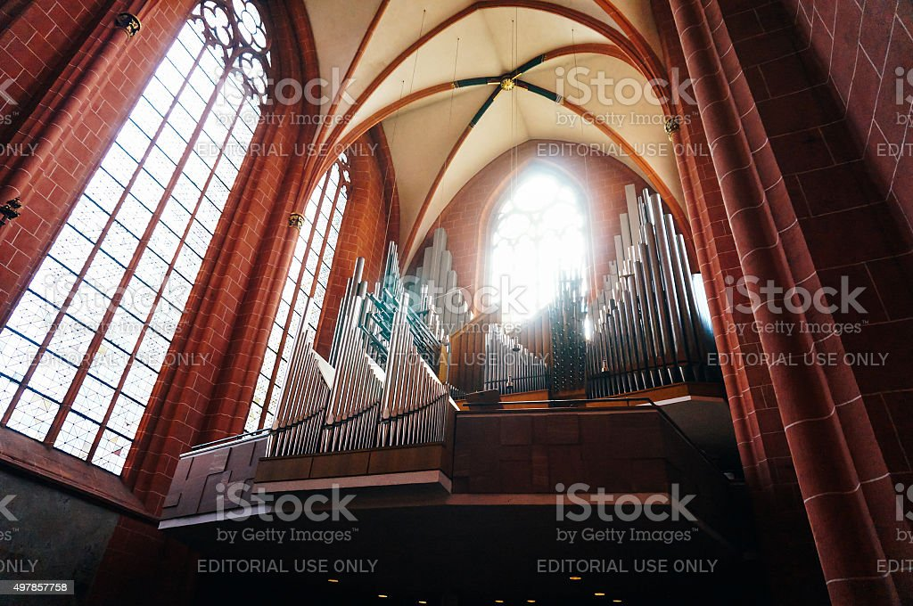 Organ of Cathedral of saint Bartholomew stock photo