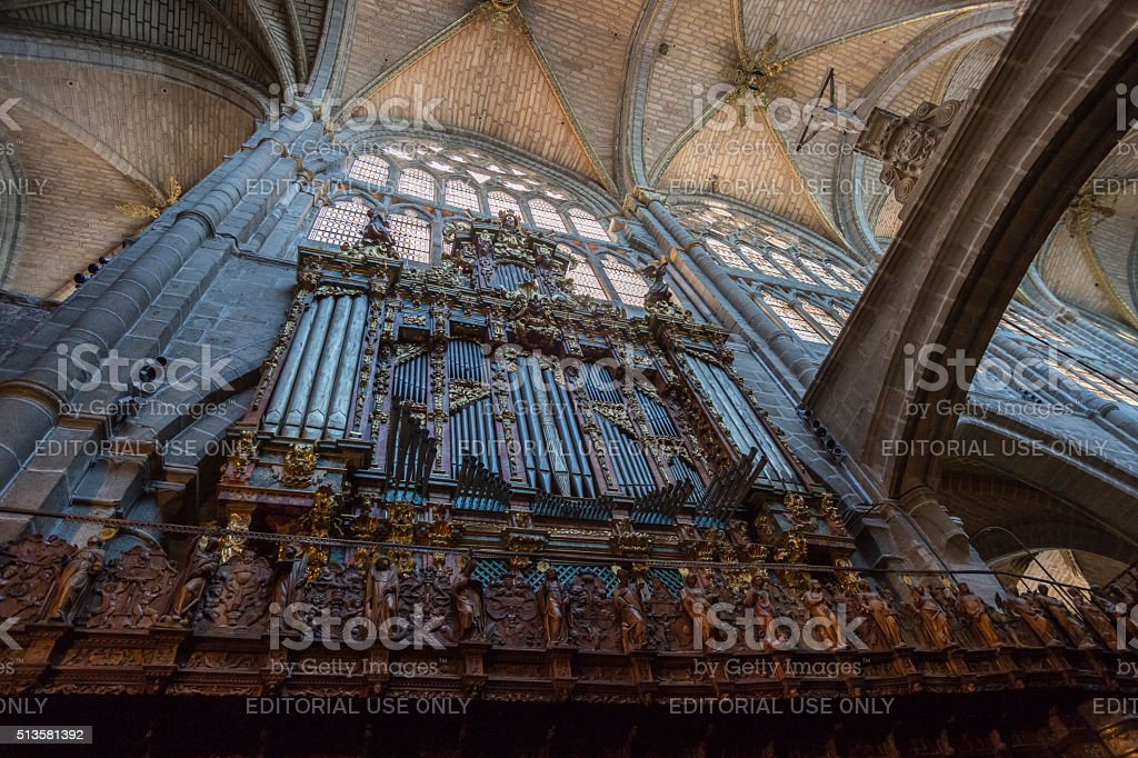 Organ of the Cathedral of Avila, Spain stock photo