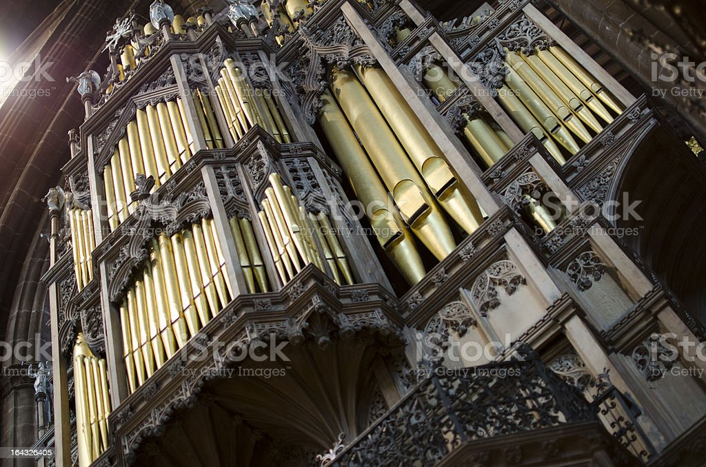 Organ Pipes at Chester Cathedral in England royalty-free stock photo
