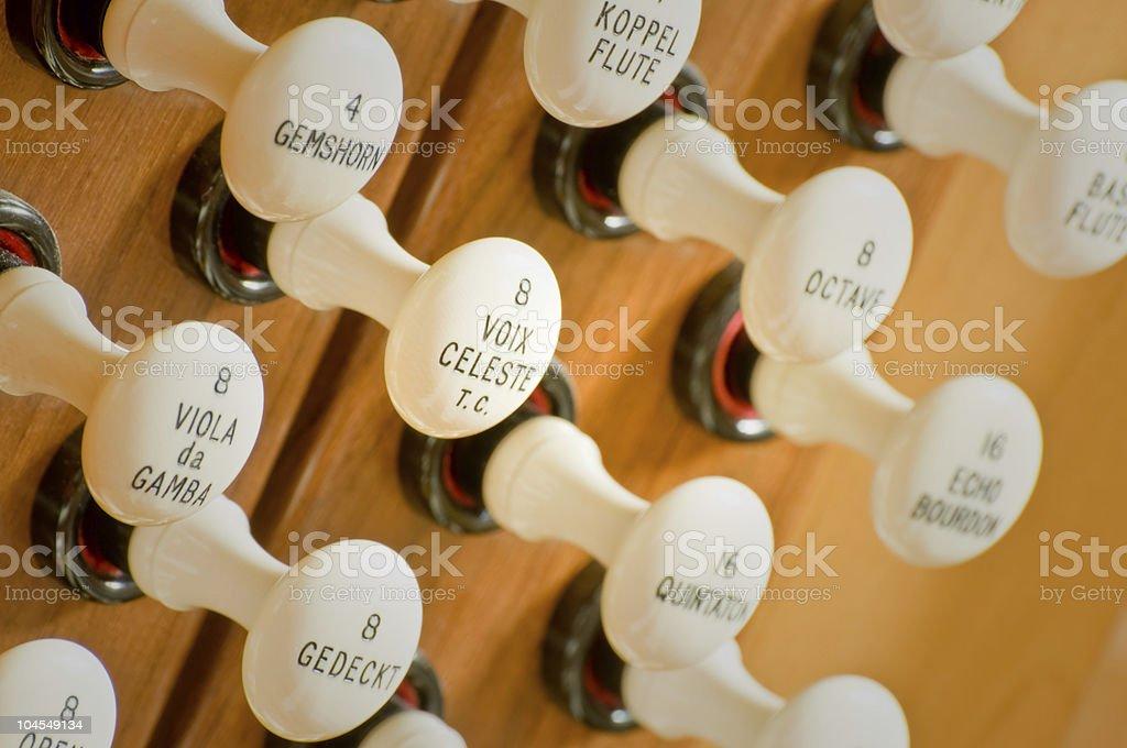 Organ Stops stock photo