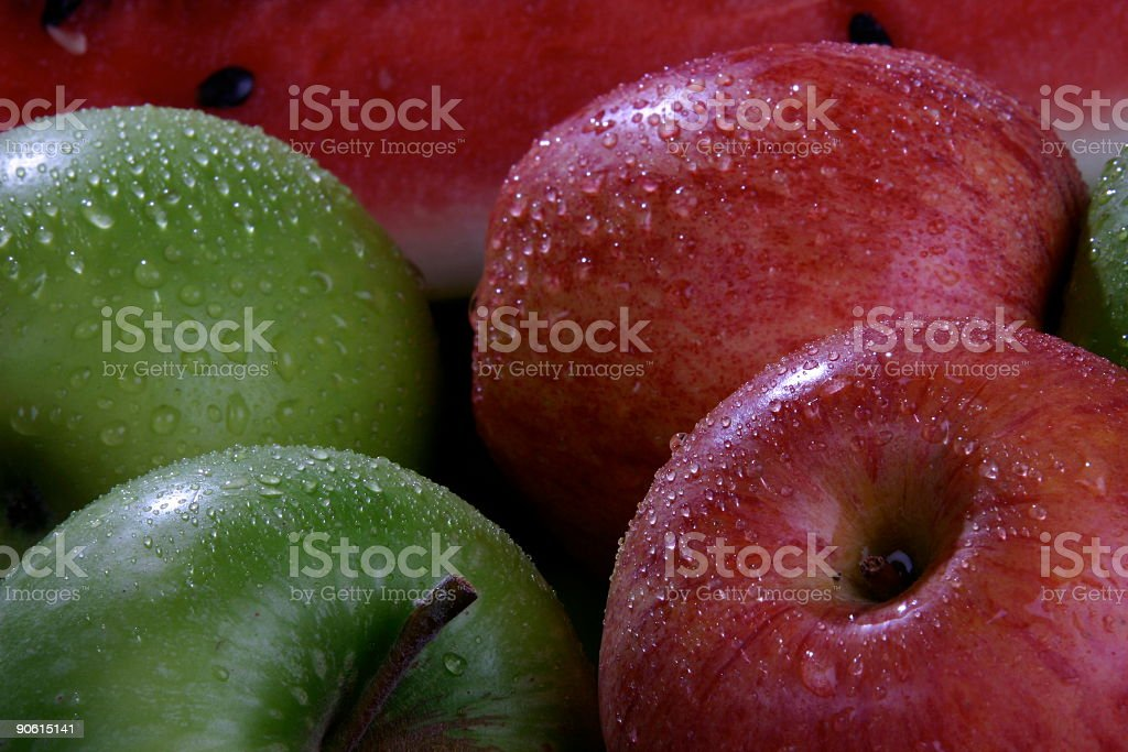 Organic apples and watermelon royalty-free stock photo