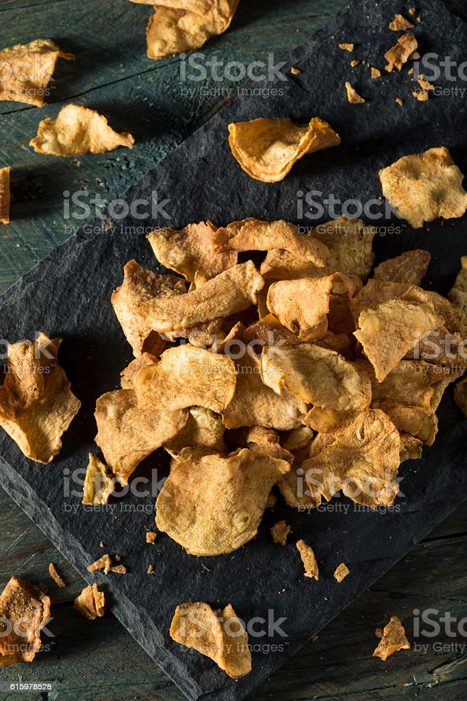 Organic Baked Celery Root Chips stock photo