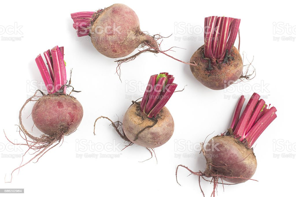 Organic Beet roots in white background. Rustic Style stock photo