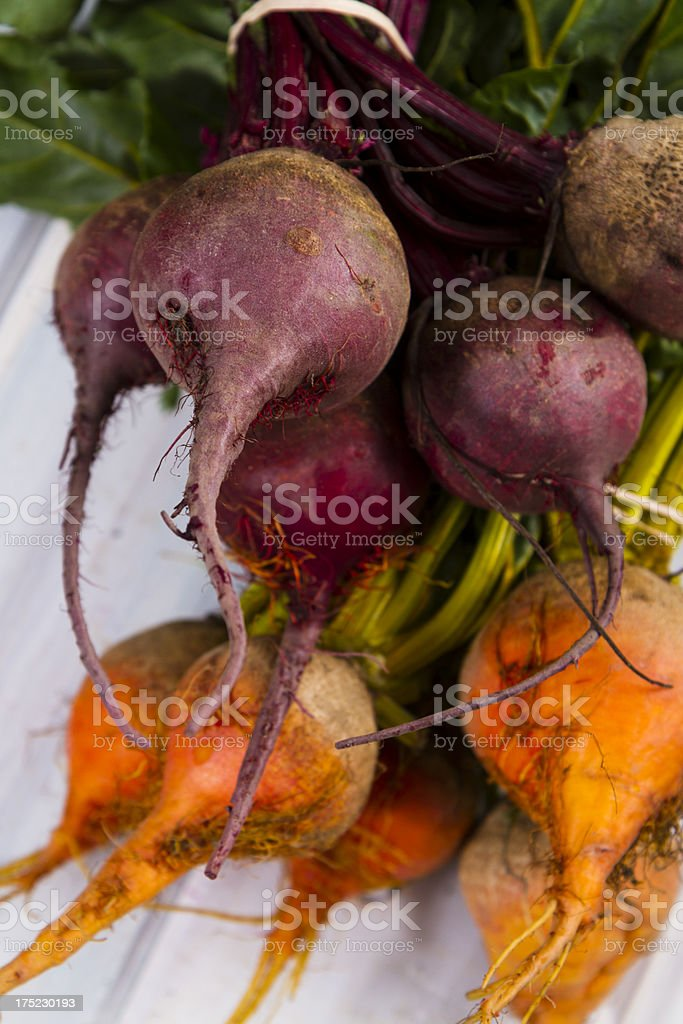 Organic Beets On Old White Wood royalty-free stock photo