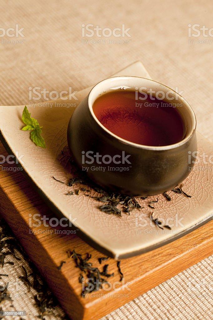 Organic black tea still life. royalty-free stock photo