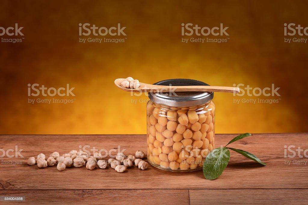 organic boiled chickpeas stock photo