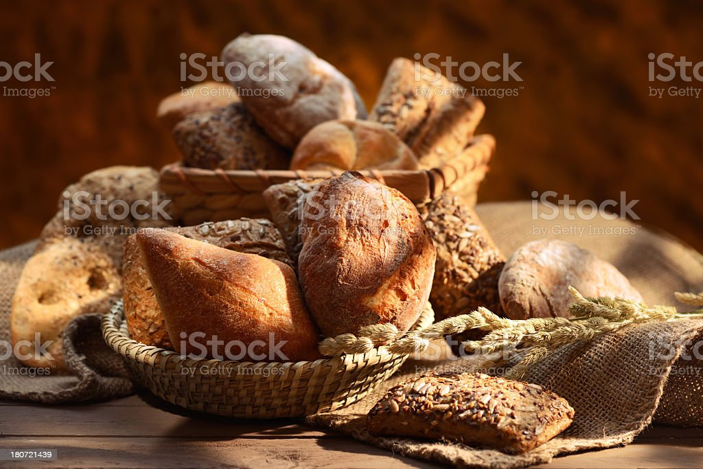 Organic bread assortment royalty-free stock photo