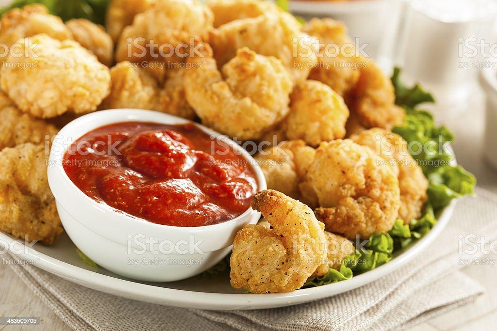 Organic Breaded Popcorn Shrimp stock photo