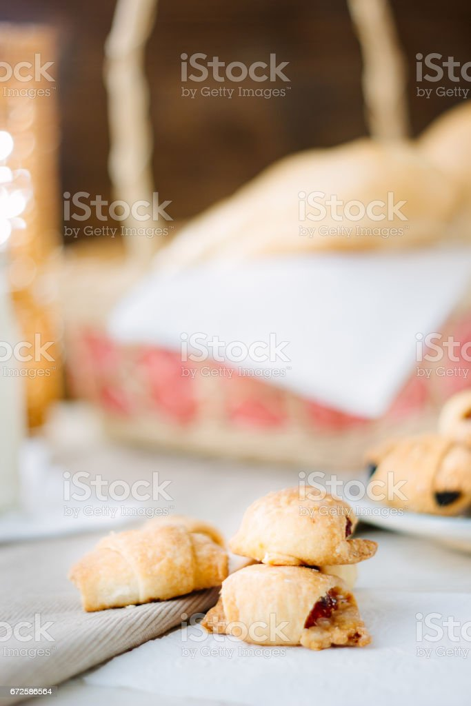 Organic breakfast - home made bagels on table. stock photo