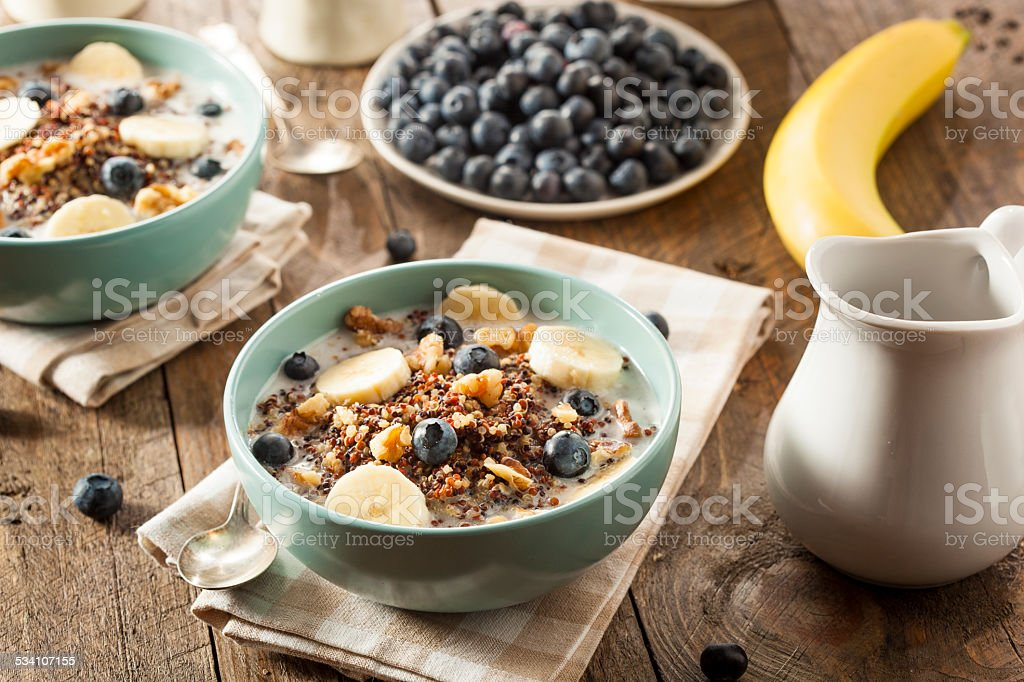 Organic Breakfast Quinoa with Nuts stock photo