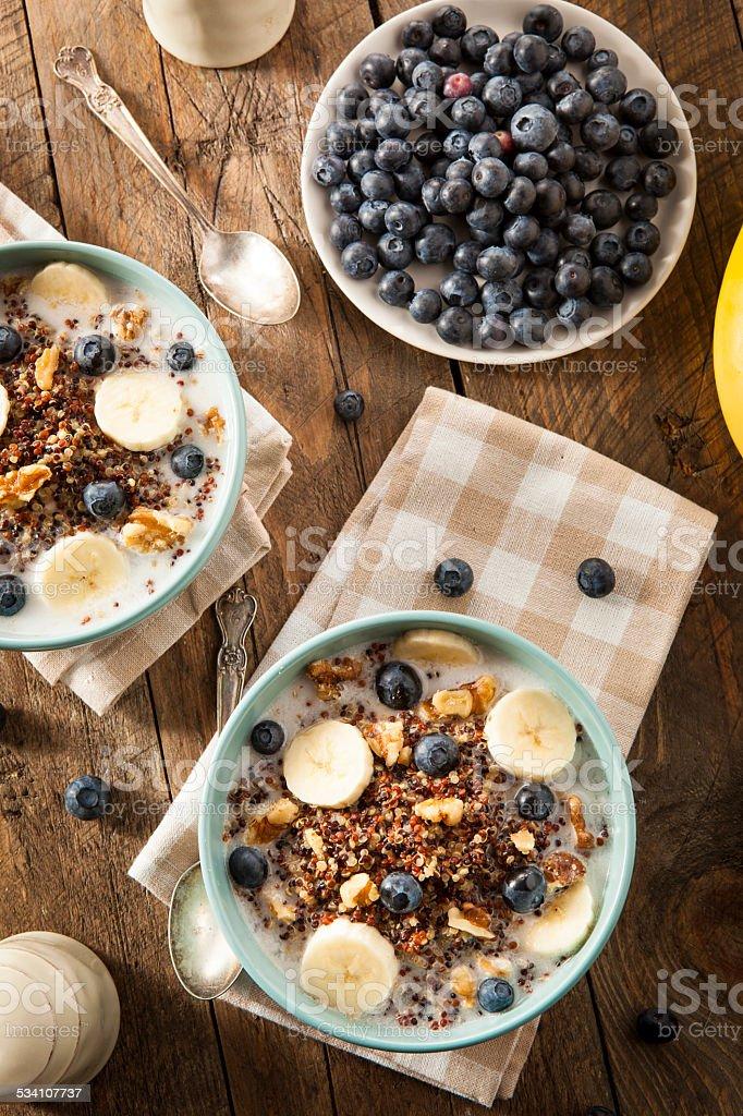 Organic Breakfast Quinoa with Nuts stock photo