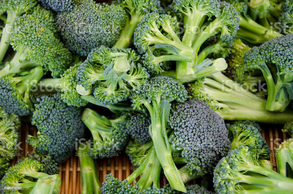 Organic Broccoli at the Farmers Market stock photo