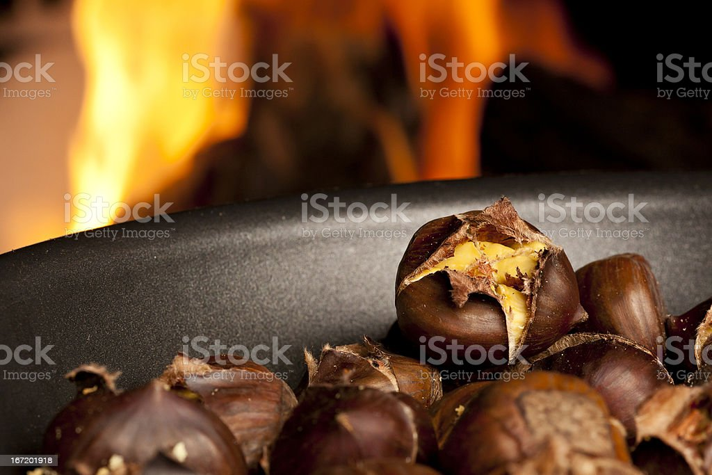 Organic Brown Chestnuts Roasting royalty-free stock photo