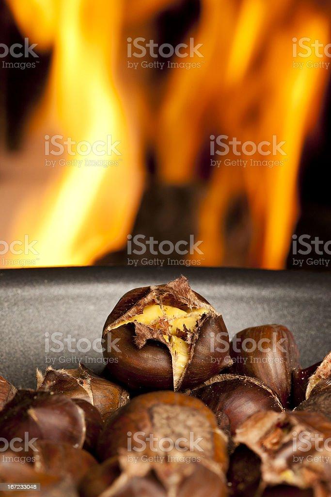 Organic Brown Chestnuts Roasting royalty-free stock photo