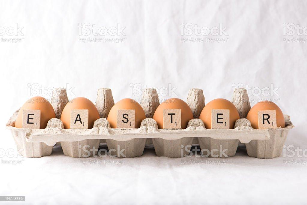 organic, brown easter eggs stock photo