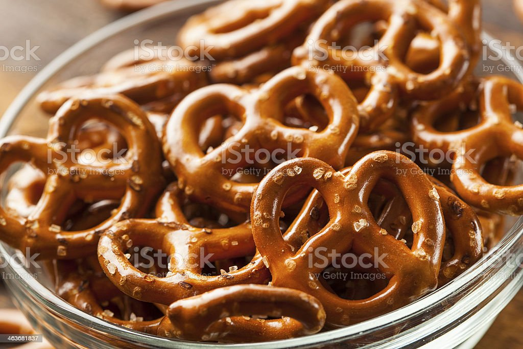 Organic Brown Mini Pretzels with Salt stock photo