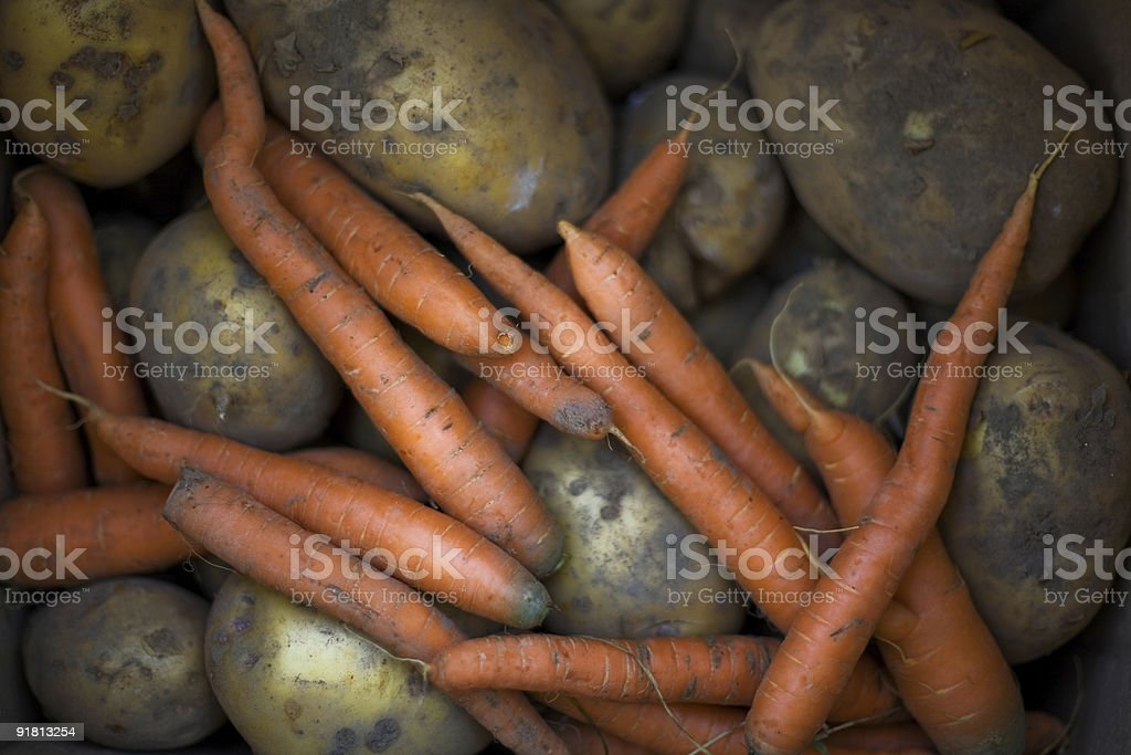Organic carrots and potatoes stock photo