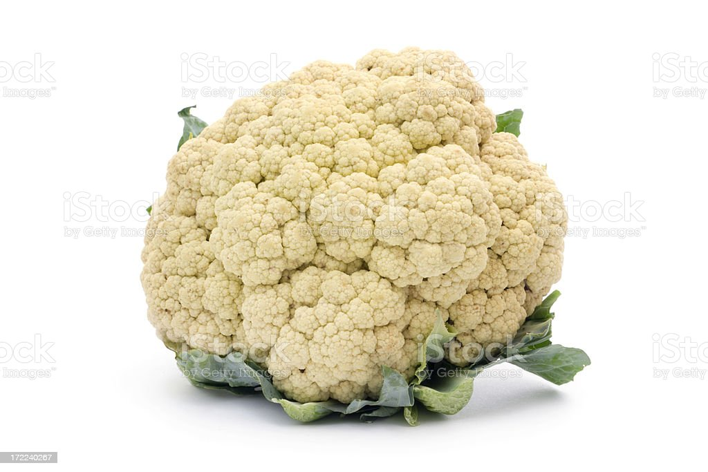Organic Cauliflower, a Fresh, Raw Vegetable Food Isolated on White royalty-free stock photo