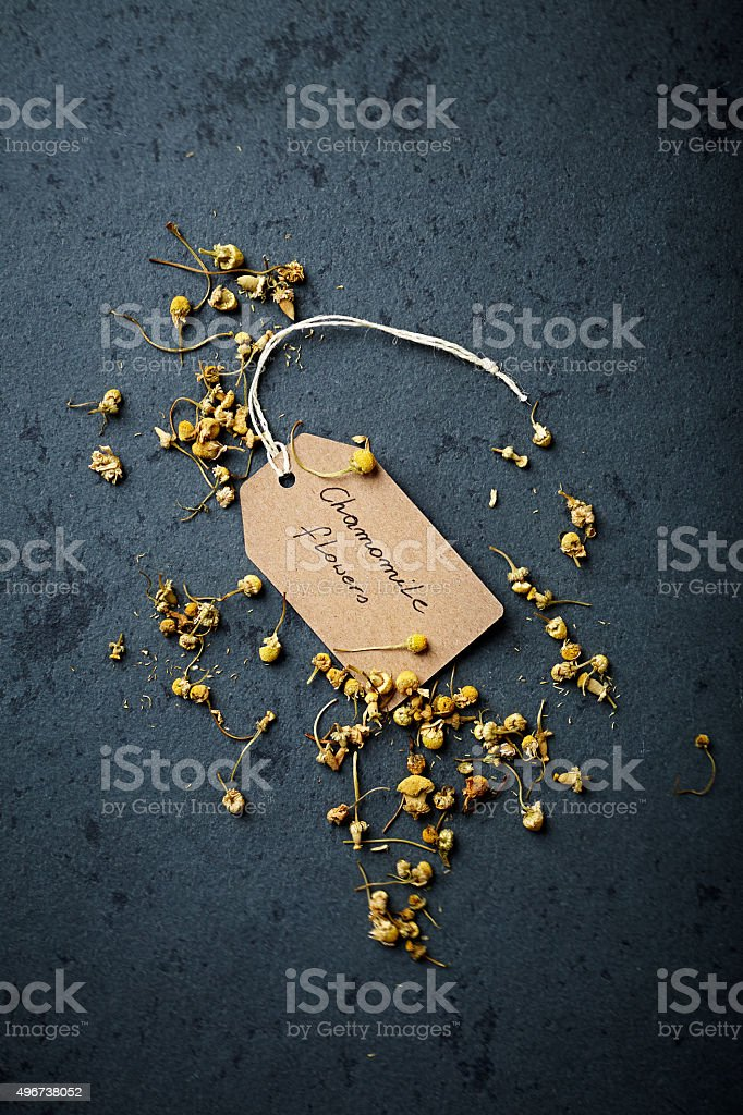 Organic chamomile flowers for tea stock photo