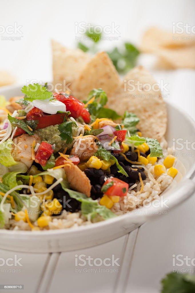 Organic Chicken Chipotle Bowl close shot on white stock photo