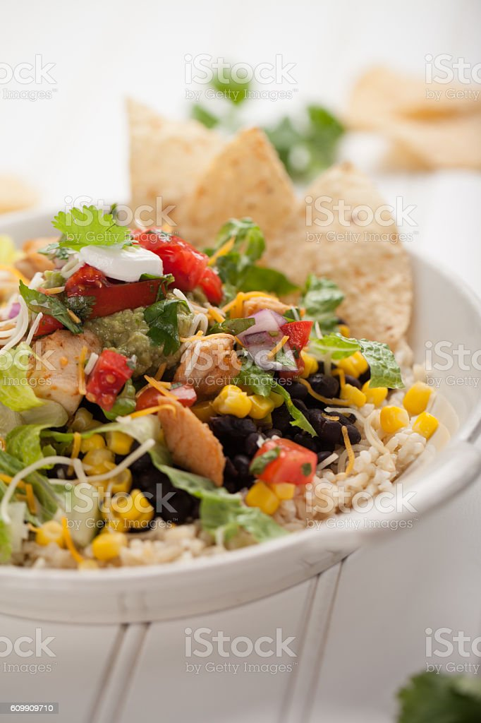 Organic Chicken Chipotle Bowl close shot on white stock photo