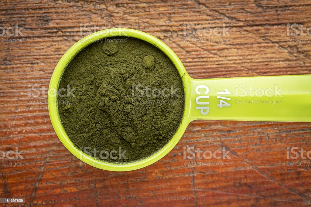 Organic chlorella powder stock photo