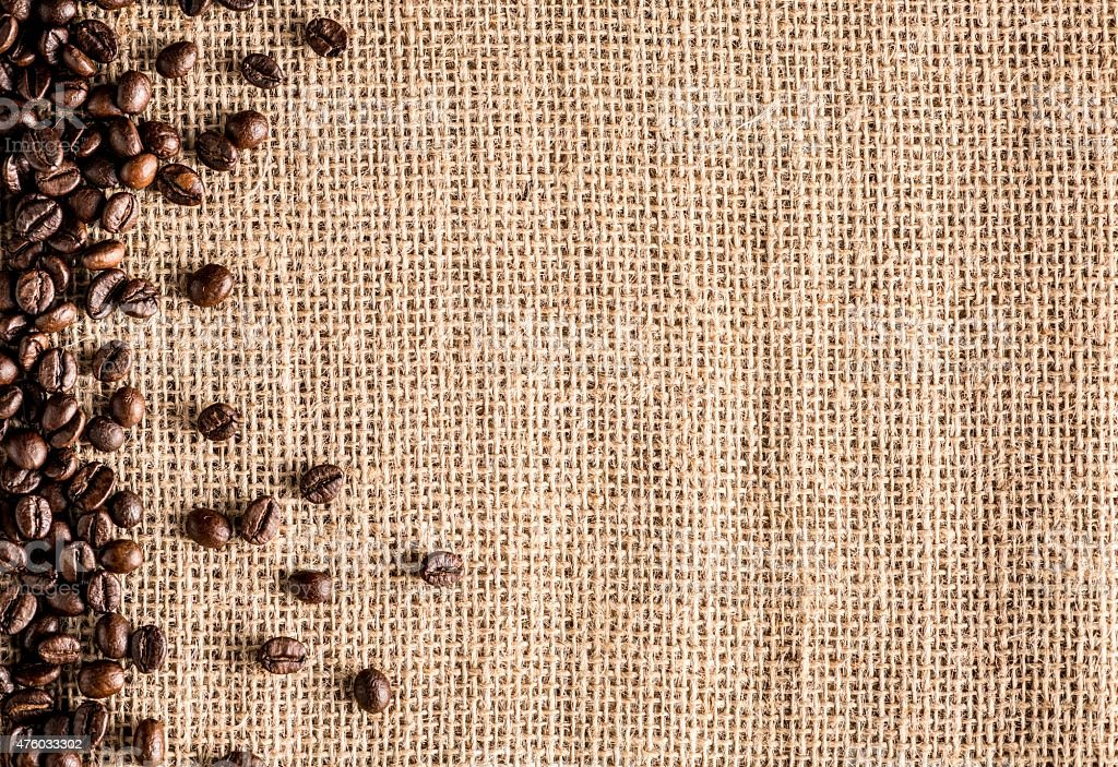 Organic coffee crops on burlap sack stock photo
