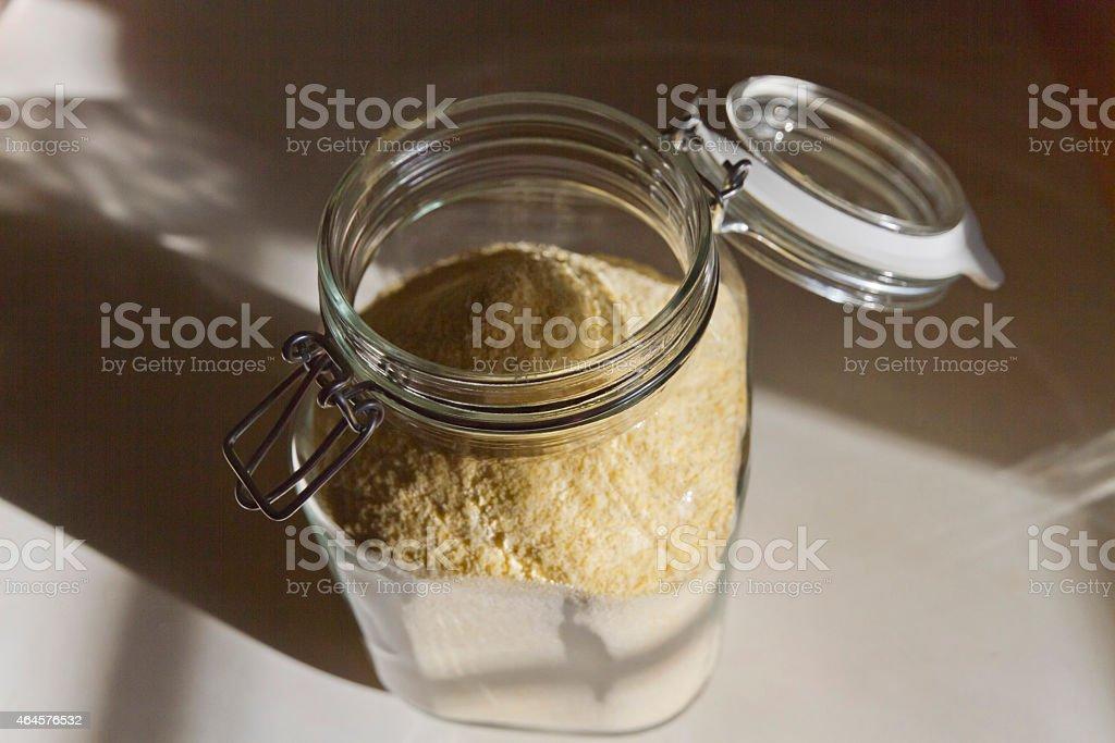 Organic Cornstarch in a Glass Jar stock photo