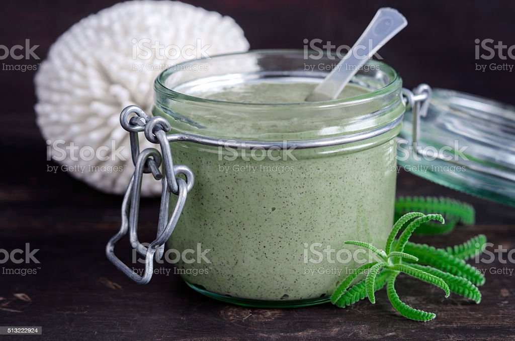 Organic cosmetic mask (scrub) with natural extracts stock photo