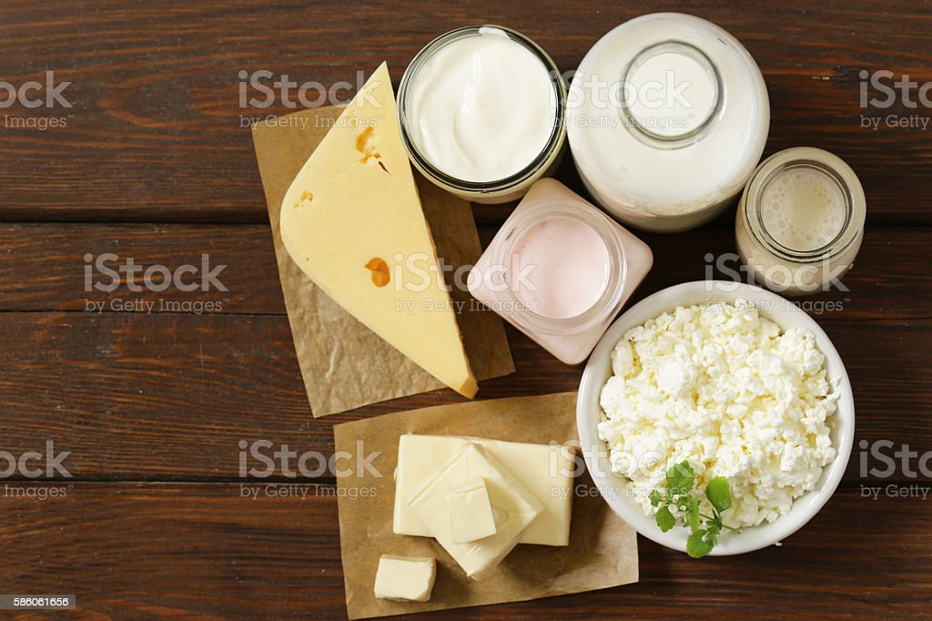 organic dairy products - milk, sour cream, cottage cheese, yogurt stock photo