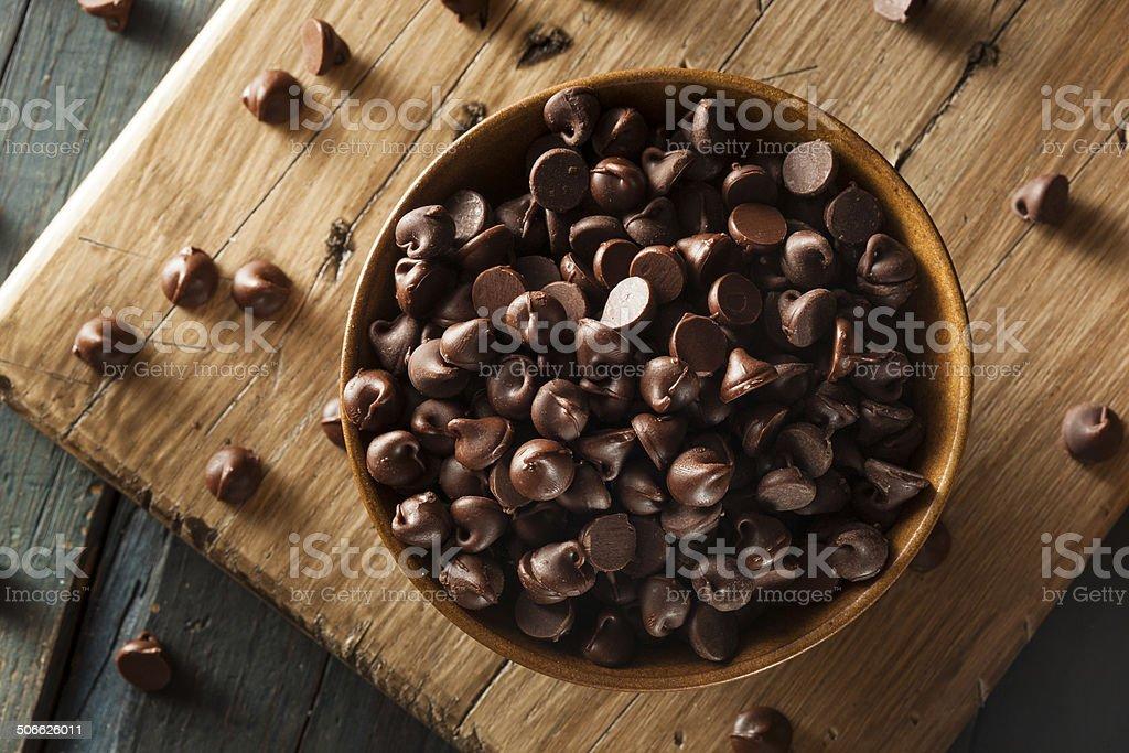 Organic Dark Chocolate Chips stock photo