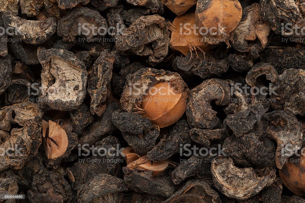 Organic dried Indian gooseberry (Phyllanthus emblica) seeds. stock photo