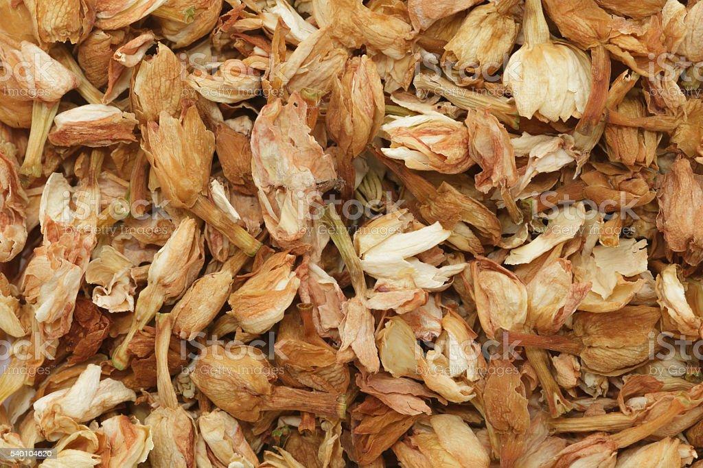 Organic dry Jasmine tea (Jasminum officinale) leaves. stock photo