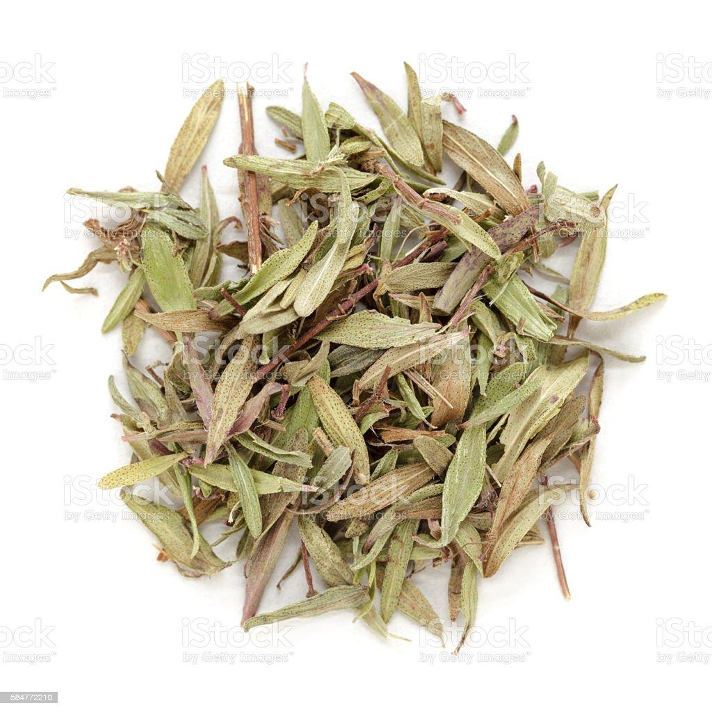 Organic dry (Thymus vulgaris) leaves. stock photo