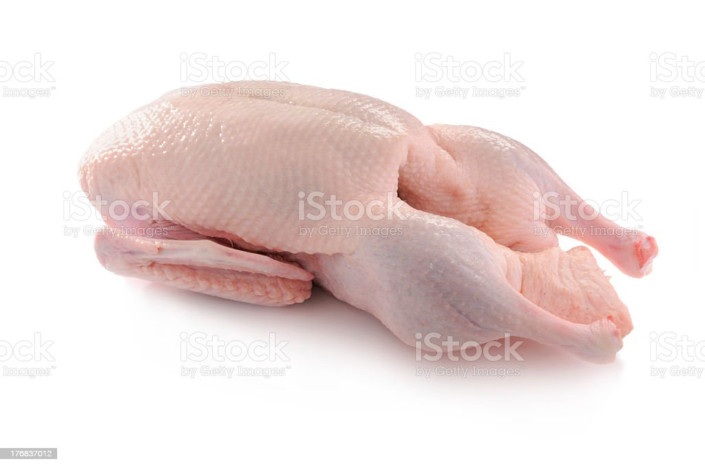 Organic duck cleaned and ready for cooking stock photo