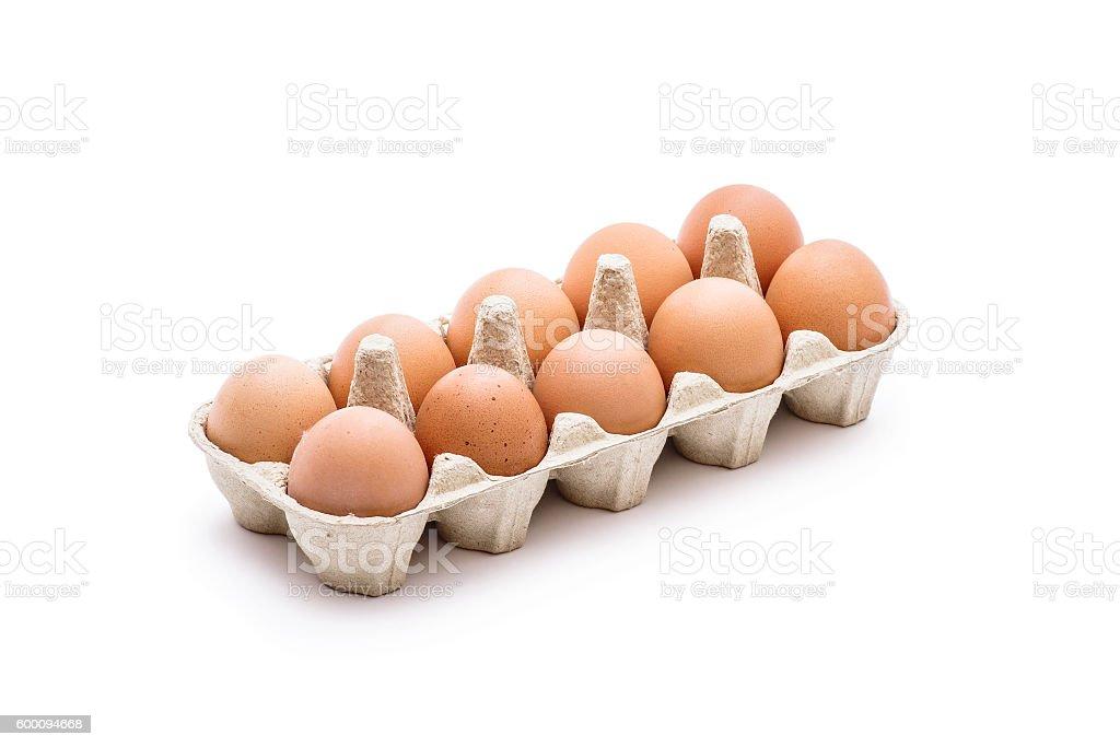 Organic Egg Pack Isolated on White stock photo
