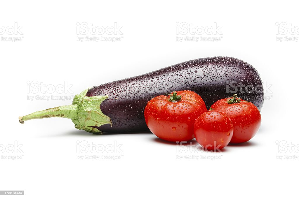 Organic Eggplant and Tomatoes royalty-free stock photo