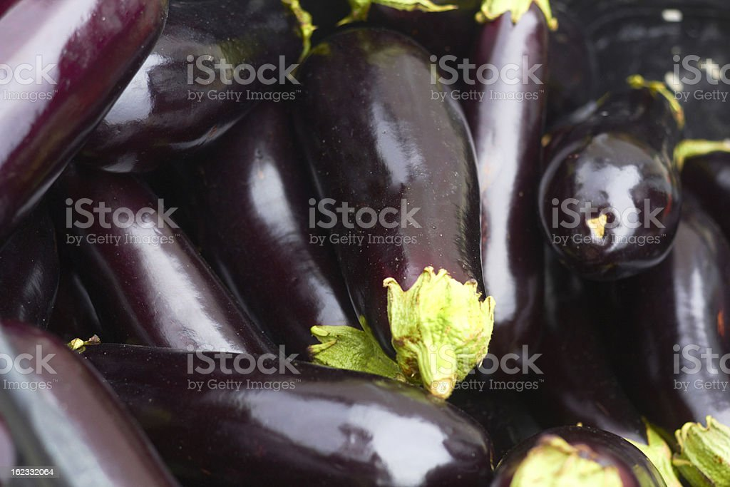 Organic Eggplants For Sale stock photo