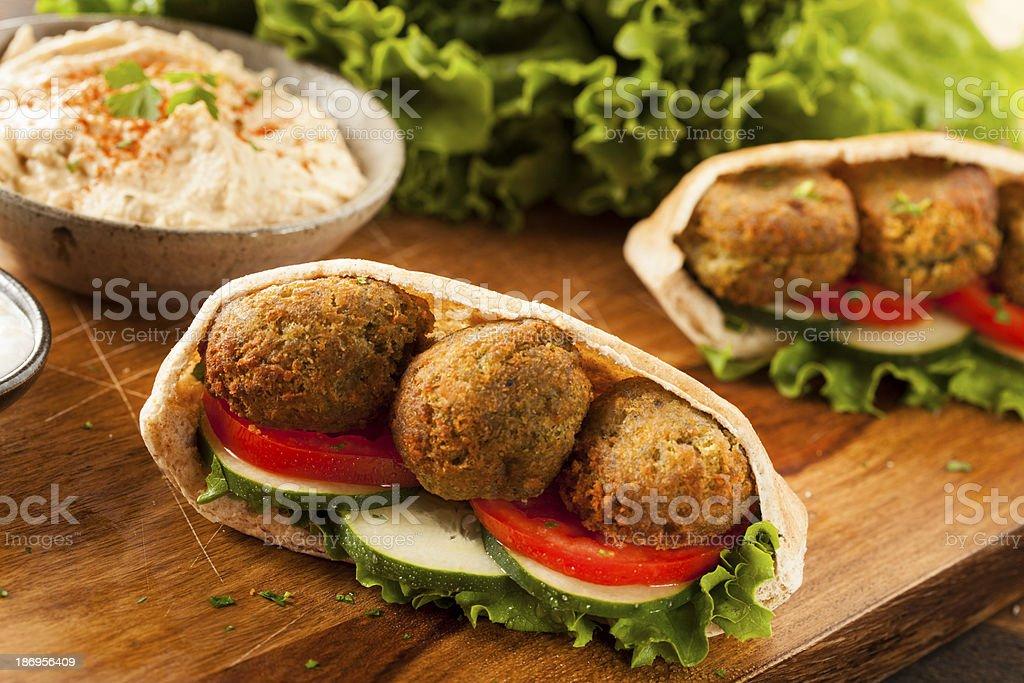 Organic Falafel in a Pita Pocket stock photo