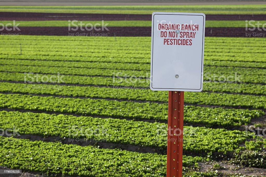 Organic Farm Pesticide Warning Sign royalty-free stock photo