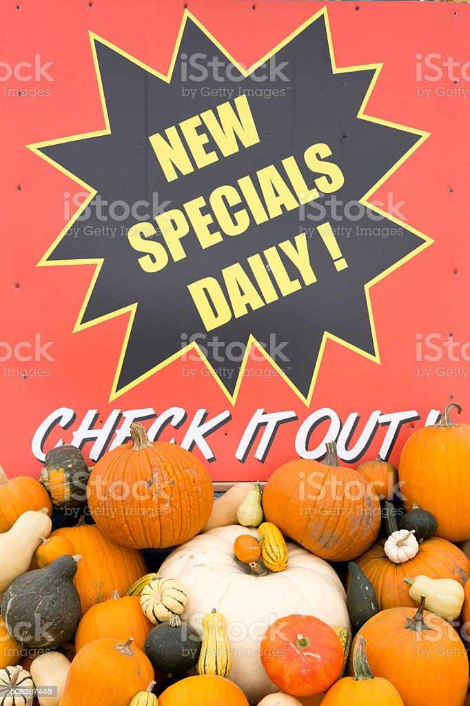 Organic Farmer's Market Sign Pumpkin Patch stock photo